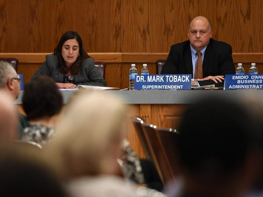 November 2016 photo of (right) Dr. Mark Toback, Wayne Public Schools Superintendent and (left) BOE attorney Isabel Machado.