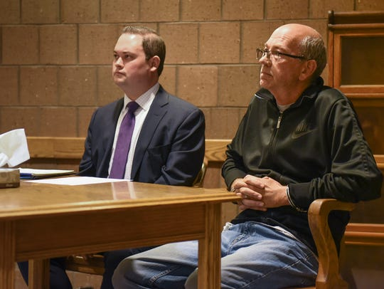 Joseph Hattey, right, 51, of Holt, faces Magistrate Mark Blumer, Monday, June 4, 2018 in 55th District Court. He faces up to 15 years in prison if convicted. At a continuation of his preliminary hearing July 5, Judge Thomas Boyd dropped one of Hattey's two charges of sodomy for committing a crime against nature (bestiality). Seated next to him is his former attorney, Alex Rusek.