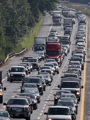 Northbound traffic backed up on Interstate 684 near the Westchester-Putnam border in the town of Southeast.