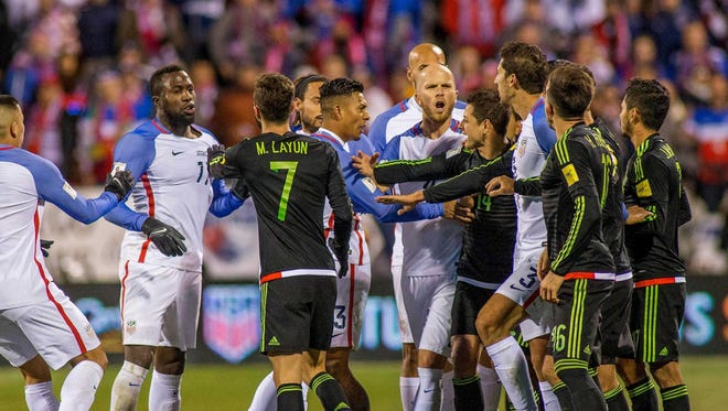 U.S. and Mexico players argue during the November qualifier in Columbus, a 2-1 Mexico win.