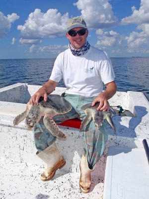 Dr. Jeff Schmid, with two juvenile Kemp's Ridley sea turtles, assisted in recovery efforts and the release of more than 100 rehabilitated juveniles in Rookery Bay Reserve following the BP oil spill in the Gulf of Mexico.