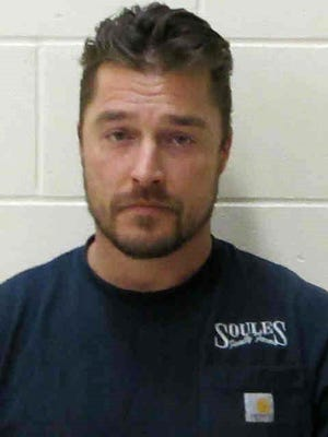Chris Soules is seen in a police booking photo after his arrest on charges of  leaving the scene of a fatal accident after the truck he was driving rear-ended another vehicle April 24, 2017 in Independence, Iowa.