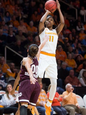 Tennessee's Diamond DeShields takes a shot while defended by Mississippi State's Dominique Dillingham at Thompson-Boling Arena on Sunday.