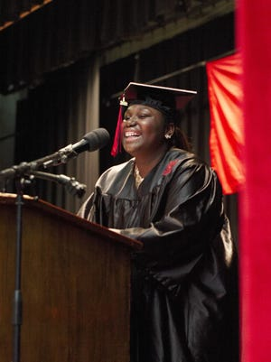 Ajahnea Greene speaks as the senior class president during the Rogers High School graduation in 2018. During a recent forum, Greene talked about her experience with racism in Newport.