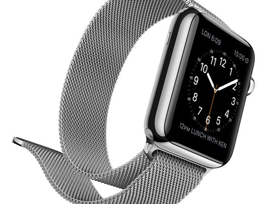 Apple Watch with a Milanese Loop band.