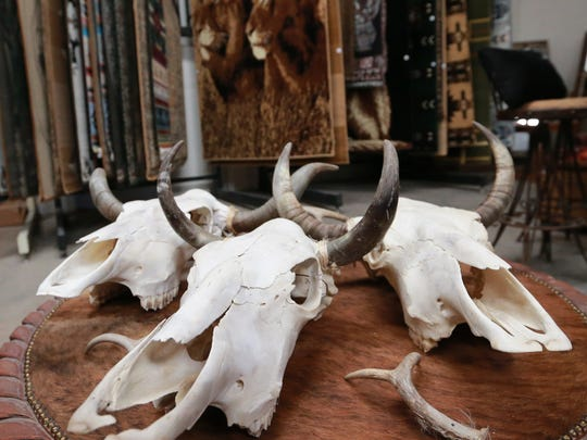 Cow skulls are a big seller for El Paso Rugs. Skulls also are sold with painted pictures and designs, including NFL team logos.