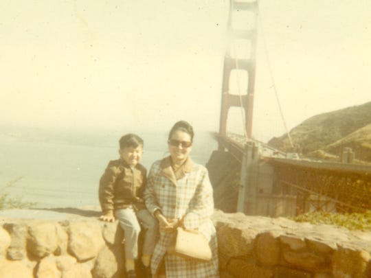 In a photo dating from 1969, Mom and I pose for a photo at the Golden Gate bridge in San Francisco.