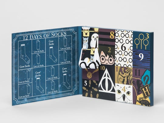 Target's Harry Potter Advent Calendar lets you count down to Christmas with a new pair of themed socks from the magical world of Harry Potter, $15.