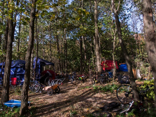 A camp off of North Avenue in Burlington is at the center of a lawsuit filed Friday, Oct. 20, 2017 by the ACLU of Vermont against the City of Burlington, who wants to remove the camp. The ACLU lawyers say that disbanding the camp and uprooting the three men who live there is unconstitutional. The city attorney says that the camp poses an environmental threat to the area. Seen on Monday, Oct. 23, 2017.