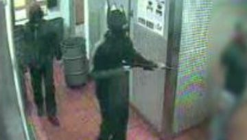 Video surveillance captured two subjects robbing the Corryville Chipotle in 2015, which saw an increase in robberies in Cincinnati.