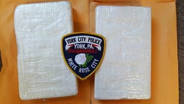 York City Police said they seized 4.4 pounds of cocaine after pulling over a pickup truck in the city on May 16, 2017. (York City Police photo)