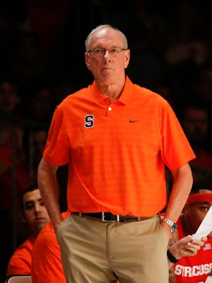 Syracuse head coach Jim Boeheim on the sideline during a game against the Texas A&M Aggies in the 2015 Battle 4 Atlantis championship game.