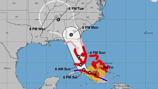 Forecast cone for Hurricane Irma as of 11 p.m. Friday, Sept. 8, 2017.