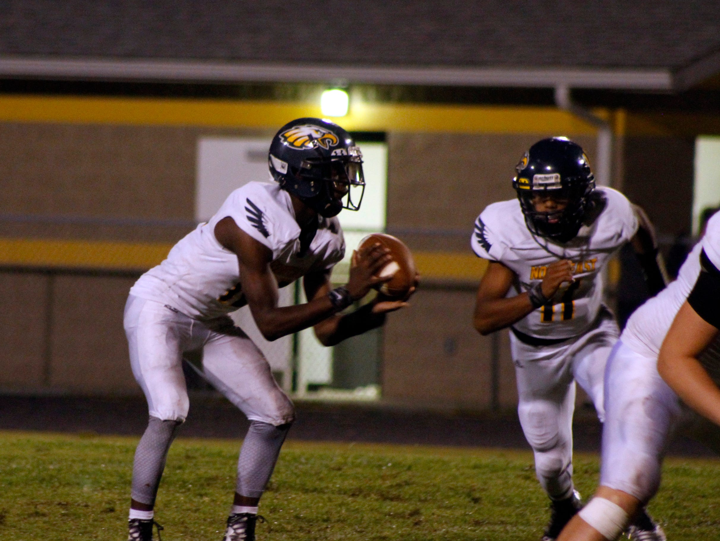 Northeast's Quinton Cross (Left) scored two touchdowns and Gus Antoine (right) scored one in a 34-6 win over the Knights Friday night.