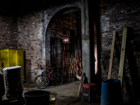 An interior room of the old water plant on Michigan Street near Pine Grove Park is currently used for storage.
