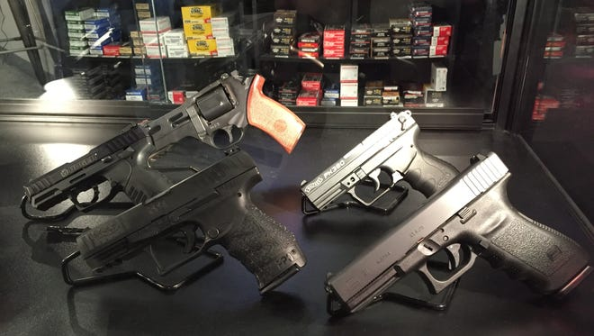 Handguns at a shooting range in Boone, Iowa, in January 2016.