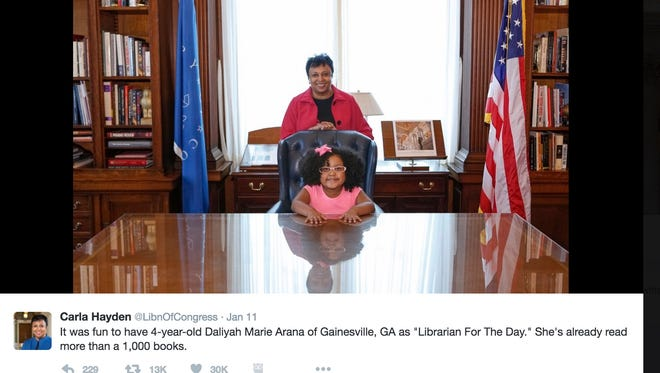 Daliyah Marie Arana of Gainesville, Ga.,  with Carla Hayden, the 14th Librarian of Congress.