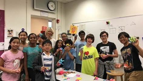 As a tribute to Ms. Chesebro and the gifted and talented program, students made 120 pieces of modular origami, some of which contained handwritten notes of thanks to Ms. Chesebro.