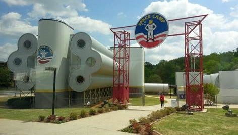 The entrance and the habitat where Wisconsin 4-H club members stayed while visiting Space Camp.