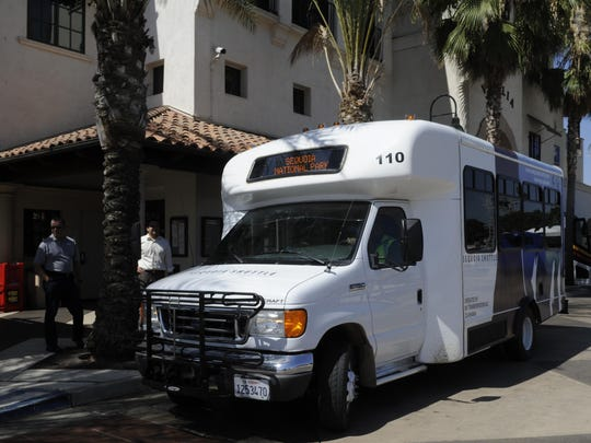 The Sequoia Shuttle departs from the Visalia Transit