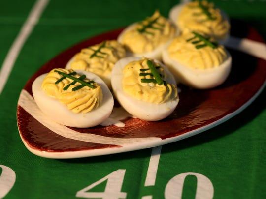 Deviled football eggs.