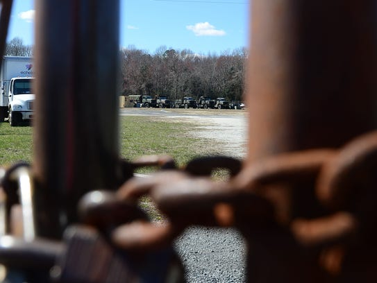 A locked fence surrounding the Dewey Beach Police Department