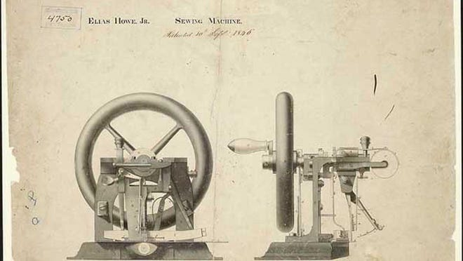 Patent drawings for Elias Howe's sewing machine.