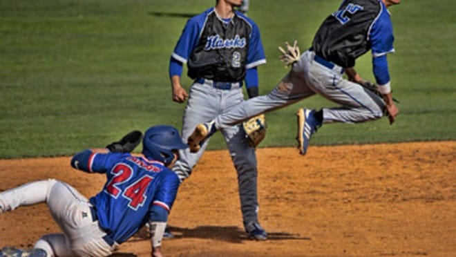 Former Effingham County standout shortstop Christian Campbell, leaping to avoid a baserunner, recently completed his first collegiate baseball season by hitting .350 at South Georgia State.