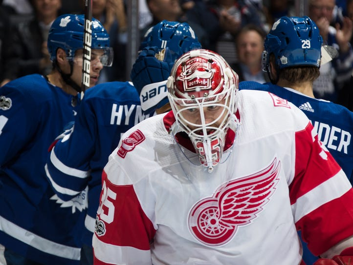 Jimmy Howard of the Detroit Red Wings reacts after