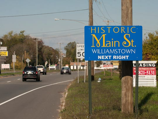 A Welcome to Historic Williamstown sign is shown along the Black Horse Pike. Monroe Township has spent $27,000 to a marketing firm to brand the Williamstown section of town to businesses.