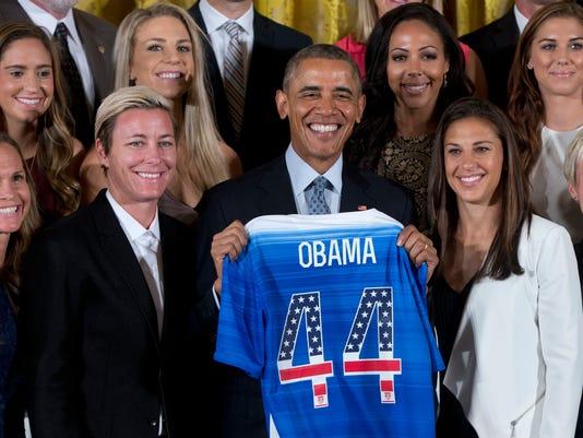 Barack Obama, Christie Rampone, Morgan Brian, Abby Wambach, Julie Johnston,  Sydney Leroux, and Carli Lloyd, Alex Morgan, Megan Rapinoe.