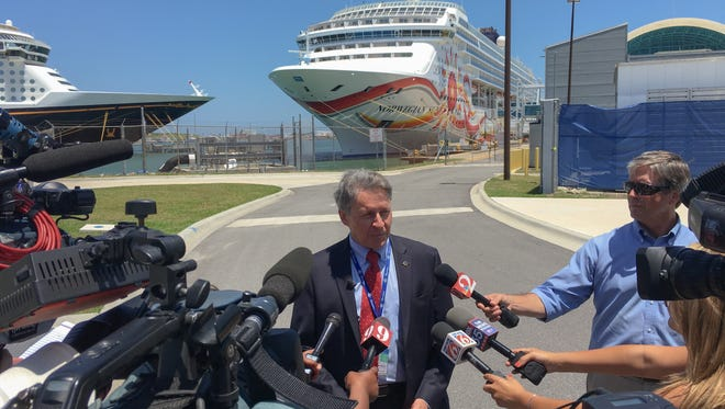 Port Canaveral Chief Executive Officer John Murray discusses the significance of the Norwegian Sun's first cruise from Port Canaveral to Havana, Cuba, with members of the news media.
