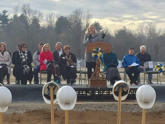 Henderson County Schools Superintendent Marganna Stanley speaks during the official groundbreaking ceremony of the new Spottsville school on Tuesday, Dec. 13, 2016.