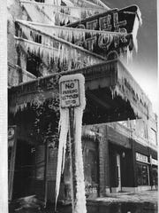 The Astor Hotel sign was coated in ice following a
