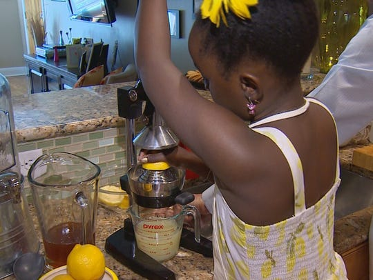 Mikaila Ulmer makes lemonade using her great-grandmother's