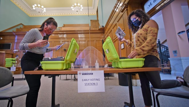 Election staff check iPads used for voting in the Levi Lincoln room of Worcester City Hall on Monday.