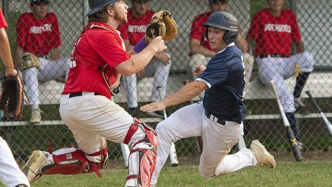 Northboro catcher John Fontechio waits for the throw as Shrewsbury's Matt Rade scores Friday in a Worcester County Baseball League game at Memorial Field in Northboro.