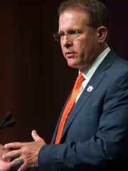 Auburn head coach Gus Malzahn talks to the press during SEC Football Media Days Thursday, July 19, 2018, in Atlanta, Ga.