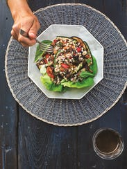 "Grilled summer veggie and barley salad from ""Simple"