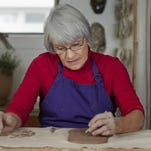 Judy Ericksen works with clay in her Great Falls studio.