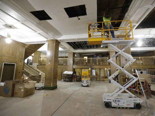 Work coninues on the restoration of the Hotel Northland lobby area.