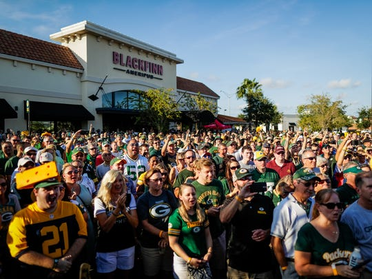 Green Bay fans attend a Packers Everywhere pep rally in September in Jacksonville, Fla.