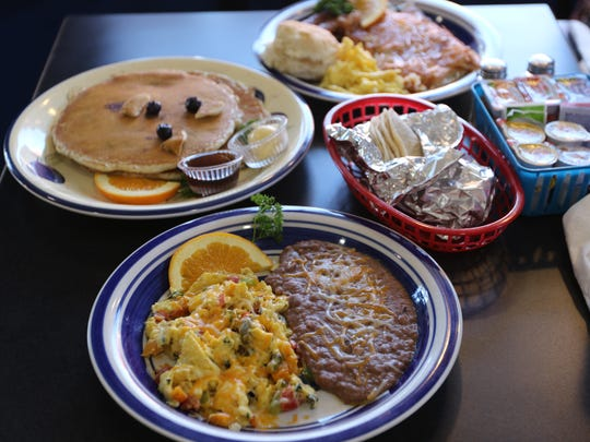 Blueberry Pancakes and Eggs a la Mexicana at Mundo's Cafe in Monmouth.