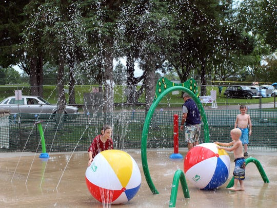The splash pad at Nixon Park in Hartland provides a great place to cool down on a hot summer day.