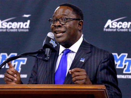 MTSU president Sidney McPhee speaks during a press