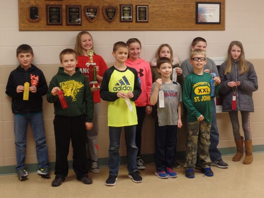 St. John's Lutheran School of Two Rivers hosted its Spelling Bee Feb. 20. Pictured are winners from grades 3-5.