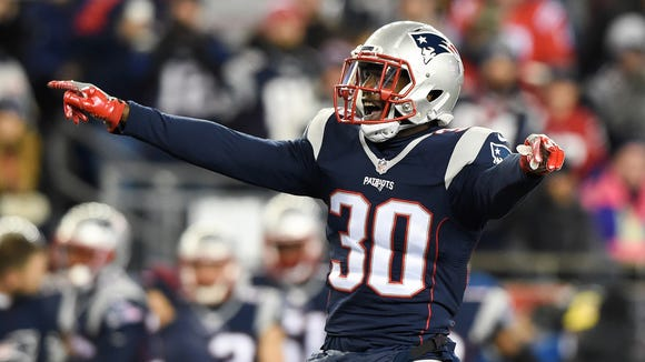 New England Patriots free safety Duron Harmon (30) waits for the snap against the Baltimore Ravens during the second half at Gillette Stadium.