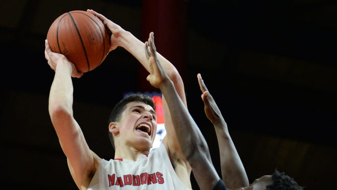 Haddonfield's Dan Fleming shoots the ball during Sunday's Group 2 boys basketball state final at Rutgers University in Piscataway. 03.11.18.