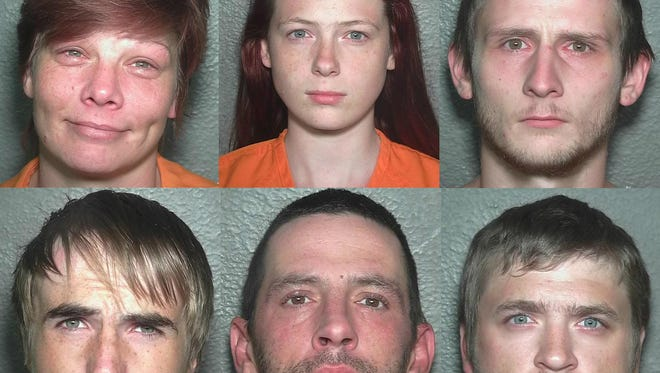 Courtesy of Weld County Sheriff's Office Clockwise: Crystal Griffin, Karly Hanchett, Scott Hanchett, Michael Vassil, Daniel Meyer and Chad Iler, are suspects in the death of Tera Lewandowski.
