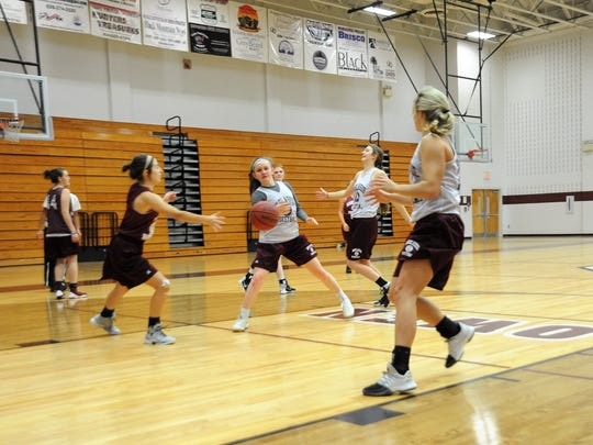 Senior Kendal Marlowe delivers a pass to a cutting Chesney Gardner during Warlassies practice on Nov. 20.